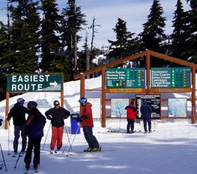 スキー場全コースの様子が分かりやすいカナダスキー場の表示板